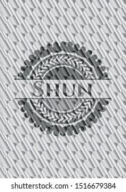 Shun silver color badge or emblem. Scales pattern. Vector Illustration. Detailed.