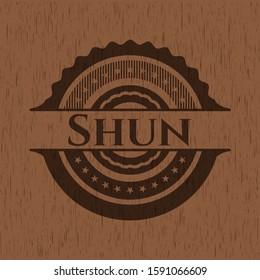 Shun vintage wood emblem. Vector Illustration.