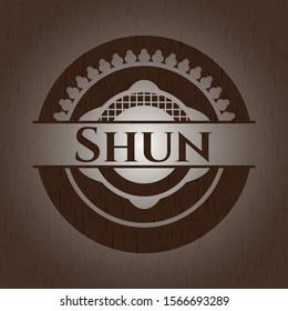 Shun vintage wooden emblem. Vector Illustration.