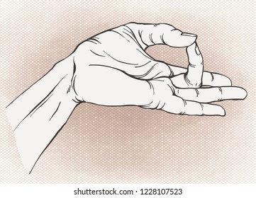 Shuni mudra. Yogic hand gesture. Drawn hands in engraving style. Vector illustration. Isolated on vintage background.