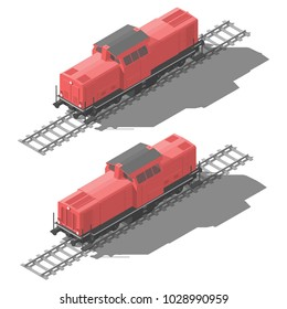 Shunting diesel locomotive isometric low poly icon set vector graphic illustration