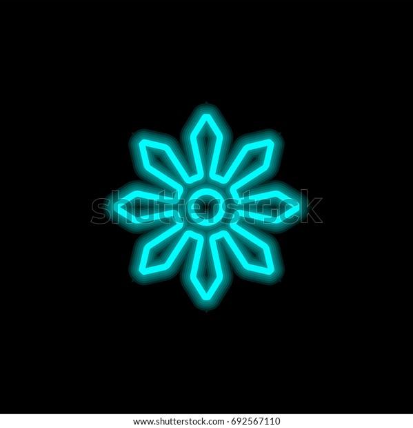Shuriken blue glowing neon ui ux icon. Glowing sign logo vector