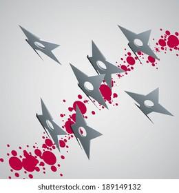 shuriken in a wall, vector illustration