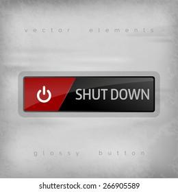 Shut down button on the gray background. Elegant design.