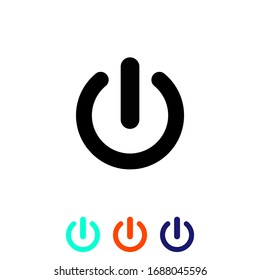 Shut down button or power on/off vector. Simple, flat design for web or mobile app icon set in modern colour design concept on isolated white background. EPS 10 vector.
