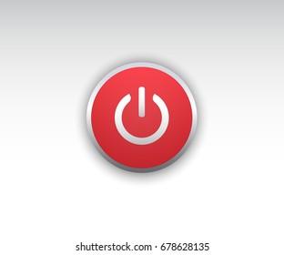 Shut down button vector. Realistic Shut down button