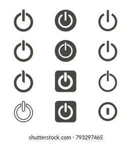 Shut down icons vector black on white background
