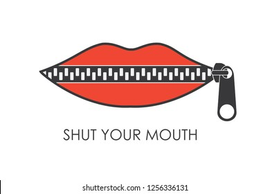 Shut your mouth concept.Red Lips zipped. Woman's mouth with zipper closing lips shut.Isolated on white background.Vector illustration