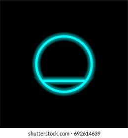 Shutdown blue glowing neon ui ux icon. Glowing sign logo vector