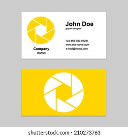 Shutter design element. Business card template