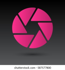 Shutter icon isolated on grey background, for web design, app, logo, UI, vector illustration