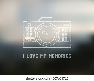 Shutter Icon or logo design template with key words. Camera and Lens badge. Keep the moment label. Isolated on blurred landscape background. Chalk design. Vector illustration.