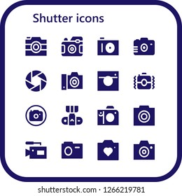 shutter icon set. 16 filled shutter icons. Simple modern icons about  - Camera, Photo camera, Photo