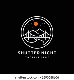 Shutter Lens Aperture as Crescent Moon at Night with Mountain, Bridge and River for Adventure Outdoor Nature Photography Concept, Photographer Logo Design