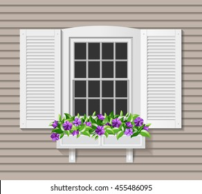 Shutter Window vector illustration. Flower box with petunia. Wooden home facade.