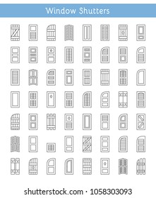 Shutters. Plantation, panel, tier on tier, bahama & louvered window coverings. Decorative exterior blinds. Board & batten shades. Front view. Line icon collection.