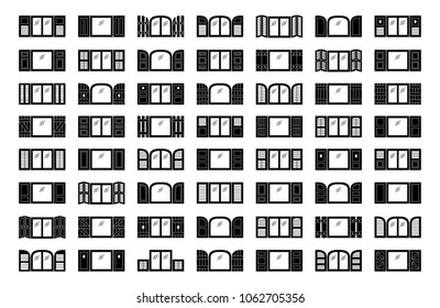 Shutters. Plantation, panel, tier on tier, bahama & louvered window coverings. Decorative exterior blinds. Board & batten shades. Front view. Flat icon collection.