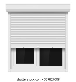 Shutters and plastic window isolated on white background. Stock vector illustration.