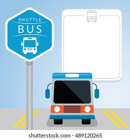Shuttle Bus with Sign, Front View with Icons and Blank Space