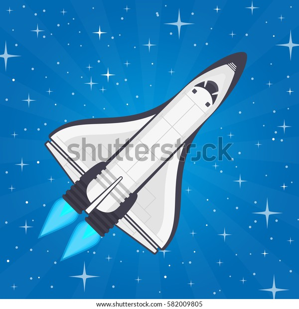 Shuttle in space. Spaceship and space background in flat style. Flying a spacecraft on the starry sky backdrop. Concept of travel to the stars. Vector illustration EPS 10.