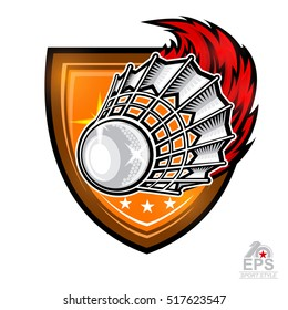 Badminton Logo Images Stock Photos Vectors Shutterstock Shuttlecock Fire Trail