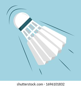 Shuttlecock flies, badminton inventory. Vector illustration in flat, cartoon style.
