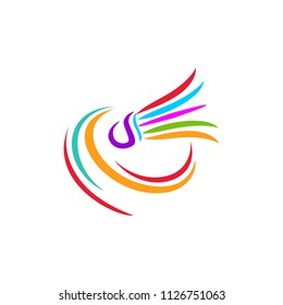Shuttlecock icon with Abstract Swoosh. You can use for Sport logo and Badminton Championship Logo. vector illustration
