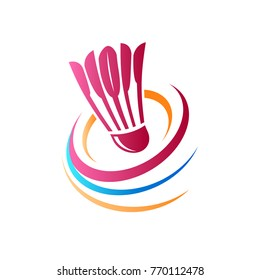 Shuttlecock icon with Abstract Swoosh. You can use for Sport logo and Badminton Championship Logo