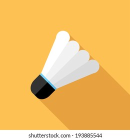 Shuttlecock icon. Flat design style modern vector illustration. Isolated on stylish color background. Flat long shadow icon. Elements in flat design.