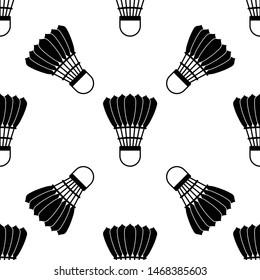 Shuttlecock Icon Seamless Pattern, Shuttlecock For Badminton Sport, Bird Feather Shuttlecock Vector Art Illustration