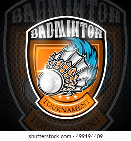 Shuttlecock with wind trail in center of shield. Sport logo for any badminton team or championship
