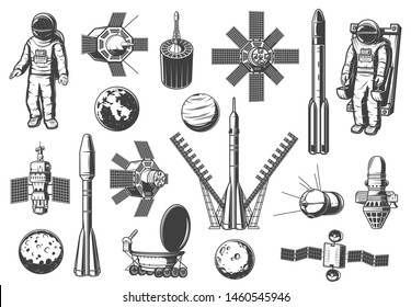 Shuttles and rockets, space and astronomy isolated monochrome icons. Vector satellites and spaceships, launch missiles, spaceman suit. Rocketship and aircraft cosmos exploration vehicles and planets