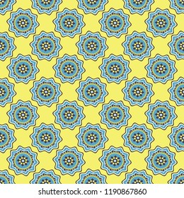 Shweshwe flower pattern in blue and Yellow