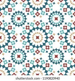 Shweshwe flower pattern red blue