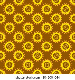 Shweshwe pattern in yellow and brown