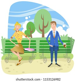Shy blushing couple on benches in a park (vector illustration)
