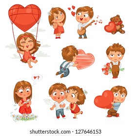 Shy little boy hiding behind a bouquet of flowers, draws with chalk heart, plays banjo and sings serenade, Little girl kissing boy on cheek, wonders for daisy, flying in balloon. Vector illustration