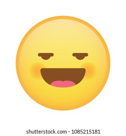 Shy and pervert emoji emoticon with mouth opened vector isolated