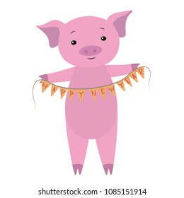 A shy pink pig is smiling and holding the flags with a congratulation of the new year