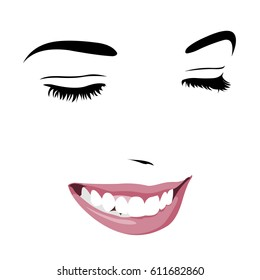 Shy timid girl smiling with closed eyes. Abstract pop up style clip art.  Easy editable layered vector illustration.