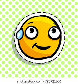 Shy yellow emoji on dots background. Smail in pop art style. Vector illustration.