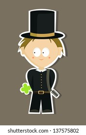 Shy young chimney sweep (vector)