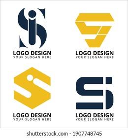 SI letter logo design collection