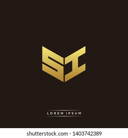 SI Logo Letter Initial Logo Designs Templete with Gold and Black Background