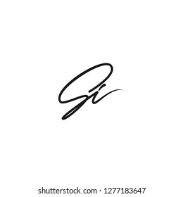 Si mark monogram. Vector hand writing SI logo. EPS 10 logo template . SI letters initial. Black logo lettering isolated on white background