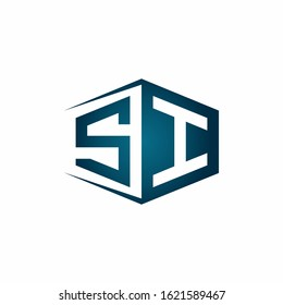 SI monogram logo with hexagon shape and negative space style ribbon design template