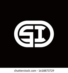 SI monogram logo with an oval style on a black background