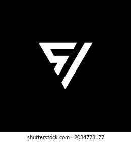 SI, SV or VS Unique abstract geometric vector logo design