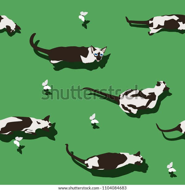 Siamese cat seamless pattern on green background. Flat style image with shadow. Funny animals walking with flying butterfly. Pet cartoon texture, wallpaper and banner. Vector illustration.