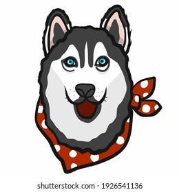 Siberian Husky dog face cartoon vector illustration